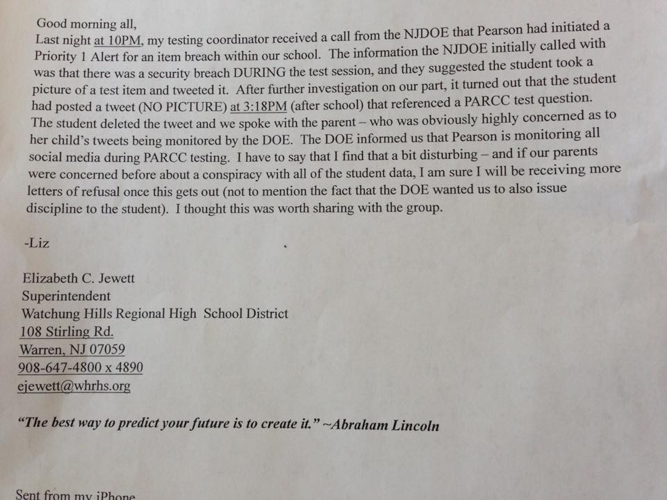 Letter From Teacher To Students About Parcc