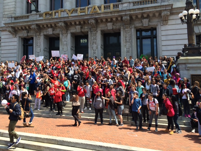 East Side students demonstrate at City Hall