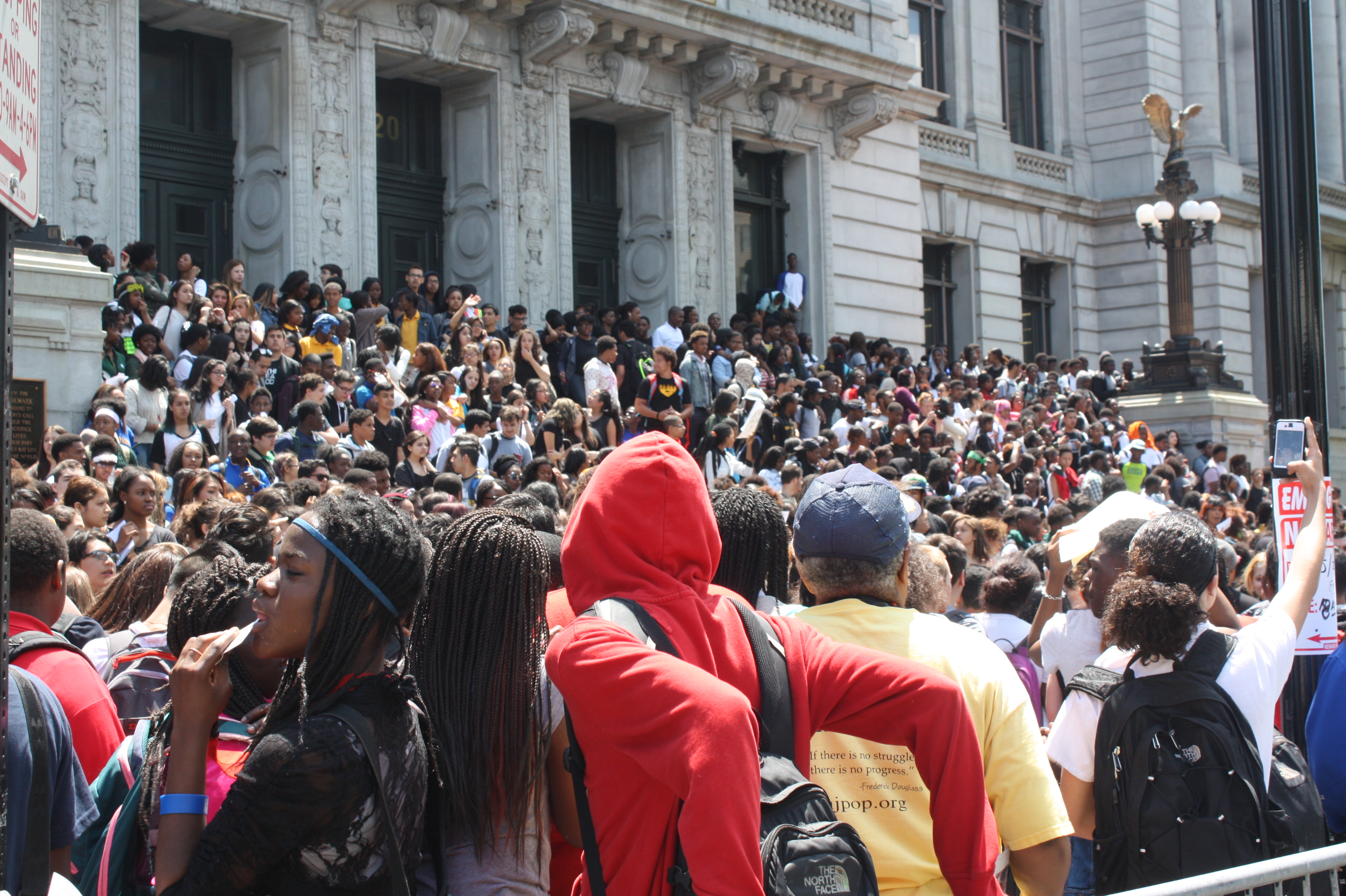 Thousands of students at City Hall last May when protesters almost shut the city--and part of the state--down.