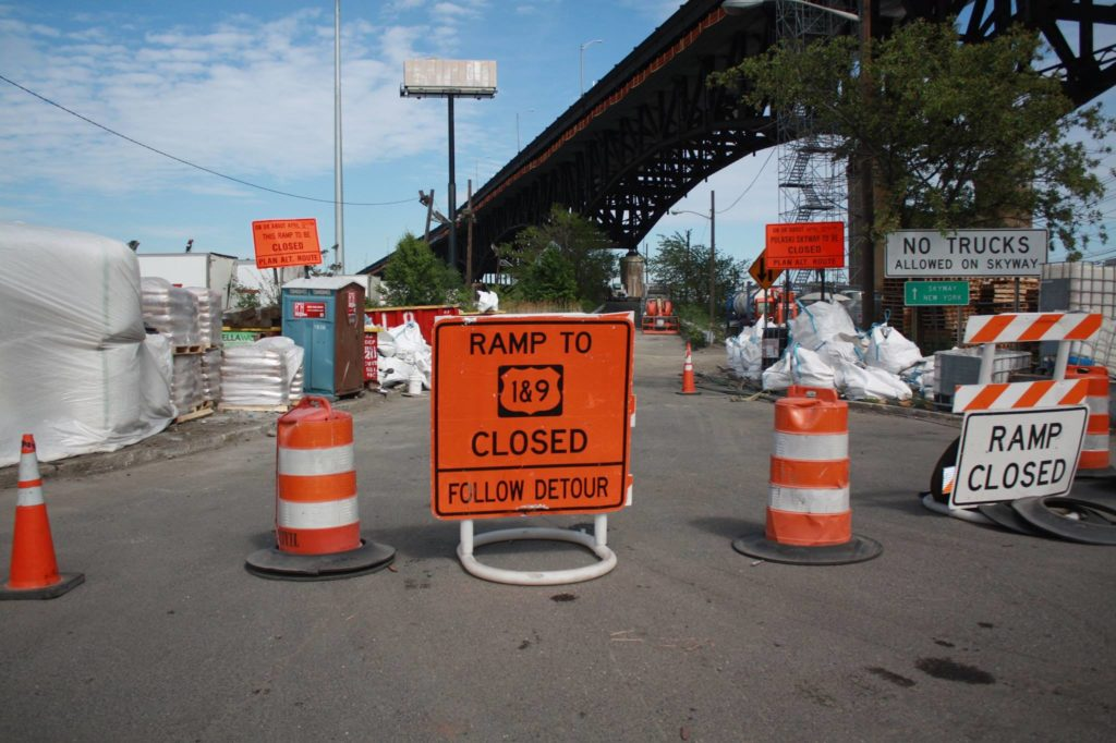 The 2nd Street ramp to the Pulaski Skyway in Kearny where China Construction dumped waste into municipal sewers.