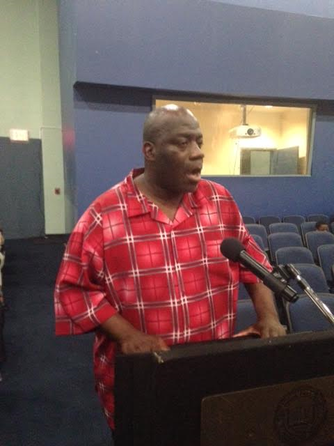 Johnnie Lattner at the school board meeting
