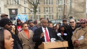 Ras Baraka and others outside Weequahic HS. Are they shrill, shrieking demagogues? Photo by Eric Adams