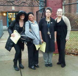 """Teachers at Alexander Street School--about to become a charter--wear black as part of """"Fight Back Friday"""" protest."""