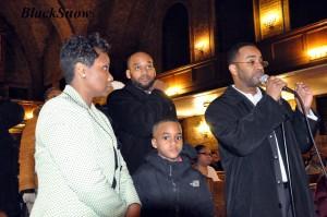 Dorothy Handfield, H. Grady James and Tony Motley speak Jan. 15. Photo by Black Snow