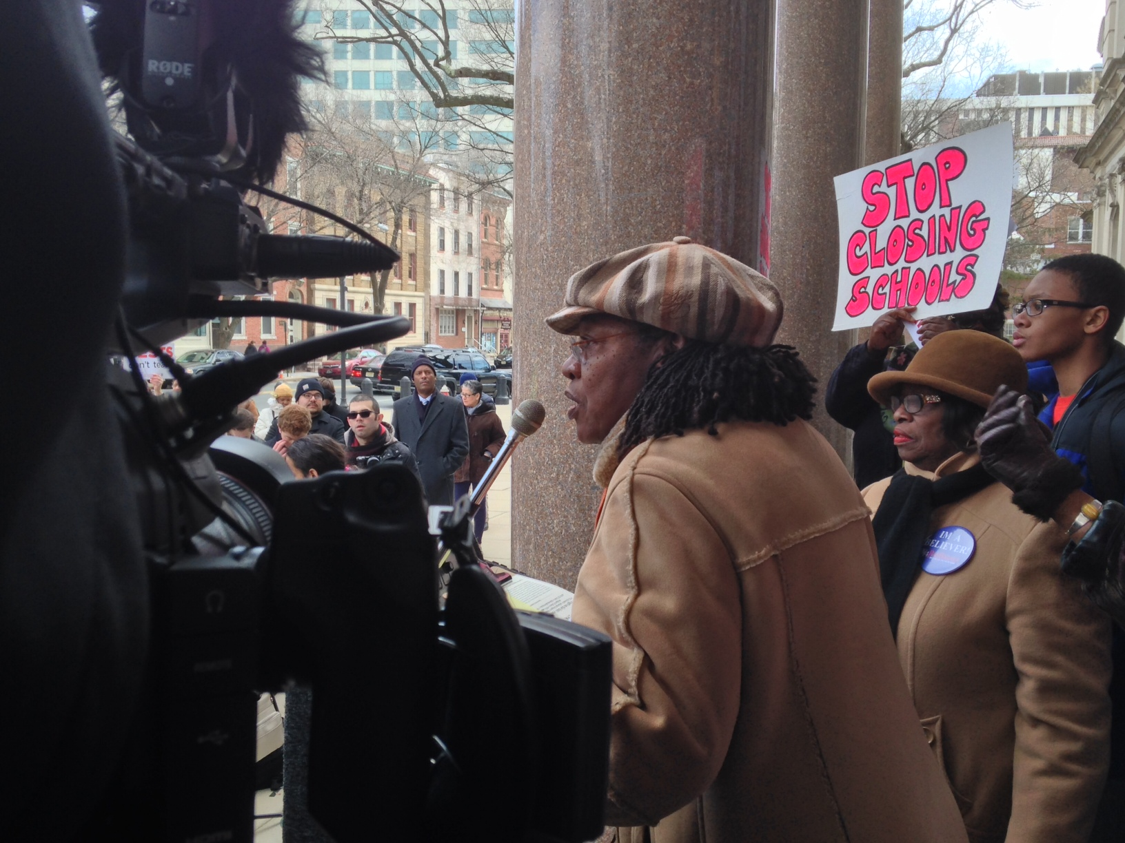 Deborah Gregory Smith opens rally yesterday in Trenton with Mildred Crump, the president of the Newark City Council.