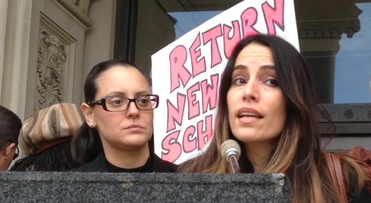 Sen. Ruiz speaks to rally. Next to her is Assemblywoman Eliana Pintor Marin