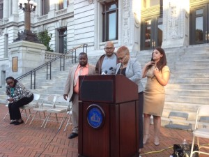 Newark school board members Marquis Lewis-Aquil, Donald Jackson, Antoinette Baskerville-Richardson and Ariagna Perello at Wednesday night's press conference.