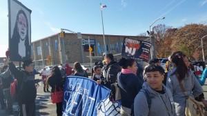 Students demonstrate outside Barringer
