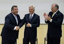 Christie, Norcross, and Senate President Steven Sweeney