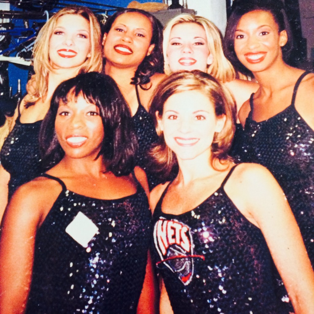 Ragland, far right, with members of the New Jersey Nets cheerleading squad