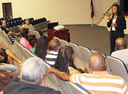 Tiffany Hardrick meets with Forrest City residents last July. Photo: Times-Herald