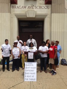 Members and supporters of PULSE announcing the federal civil rights complaint filed against the state amdinistration of Newark schools, May, 2014.