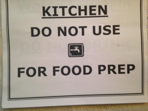 A sign put up in a Newark public school--but only after breakfast was served