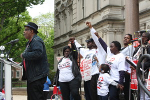 "Keith Howell and parents from Camden--the public schools are ""set up"" to fail. (Bob Braun photo)"