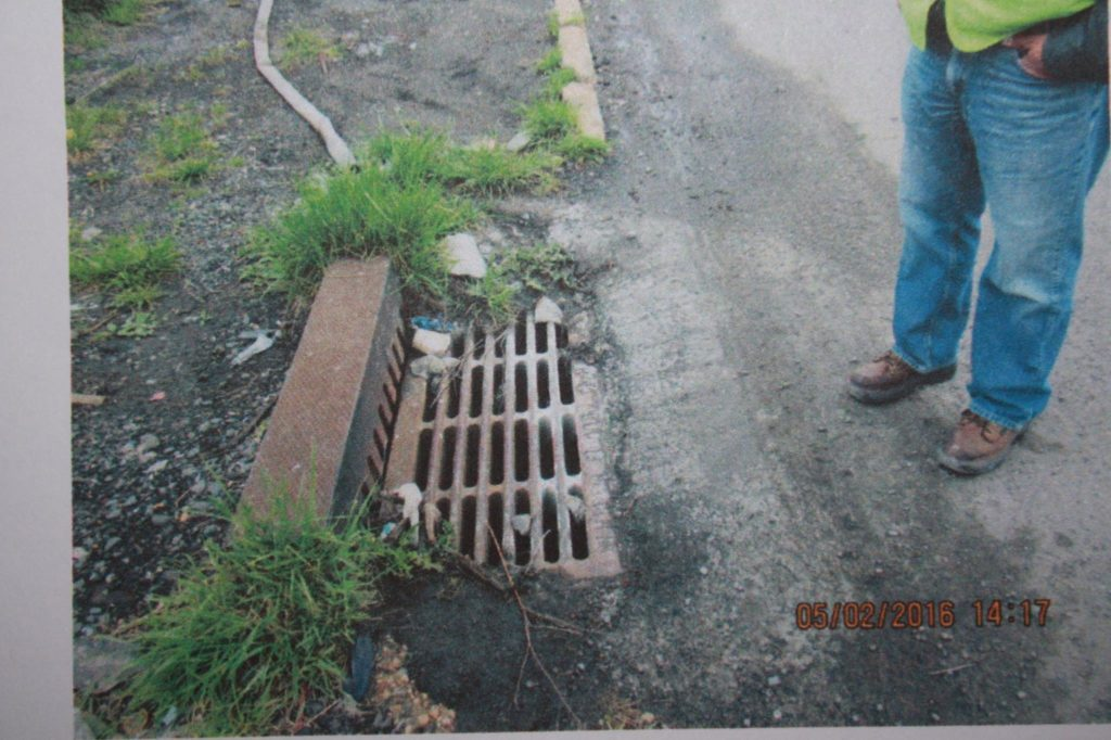 Sewer where construction waste was dumped in Kearny
