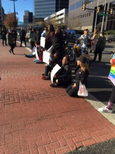 Protesters sat down to block traffic at McCarter Highway