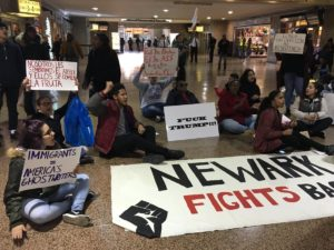Anti-Trump protesters stage sit-in in Newark Penn Station
